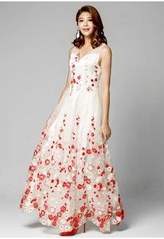 144c7c2cb9 Evening by Karen Liu multi V-neck Floral Embroidered Mesh Gown  EV986AA2VDQRHK 1