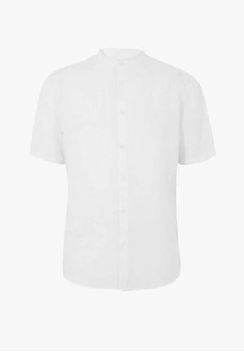 MARKS & SPENCER white Linen Blend Grandad Shirt 641C4AA6557DD8GS_1
