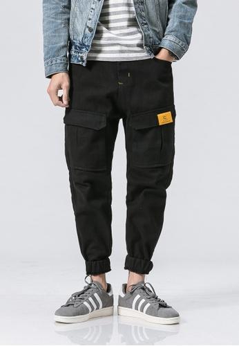 hk-ehunter black Casual Regular Fit Jogger Pants EC17DAA5561AF6GS_1