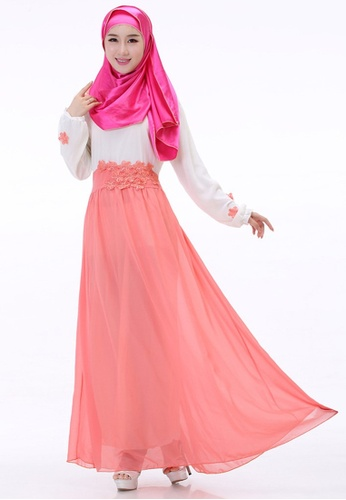 SMROCCO pink Muslimah Pink Flora Jubah Dress MW6010-PI SM066AA35NGYMY 1 2007a12d3a