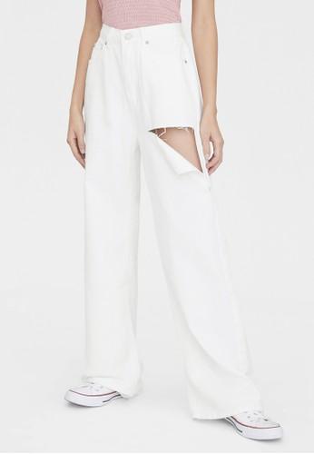 Pomelo white Wide Leg Ripped Jeans - White E17BBAA55B0509GS_1
