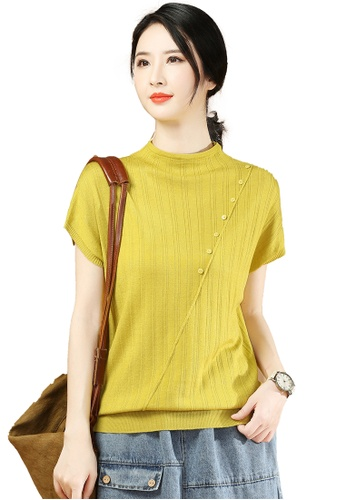 A-IN GIRLS yellow Fashion Round Neck Short Sleeve Sweater 97188AAAA5C856GS_1