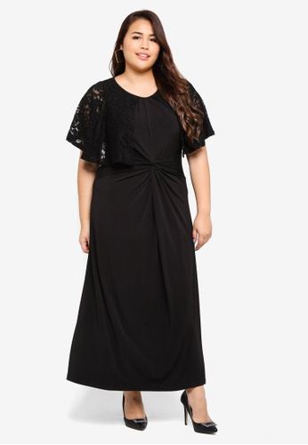 058a8cbc978 Ex otico black Plus Size Twisted Long Dress With Lace C75E6AAE1E90D7GS 1