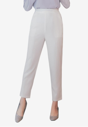 YOCO white High Waist Tapered Pants BAC73AABC20978GS_1