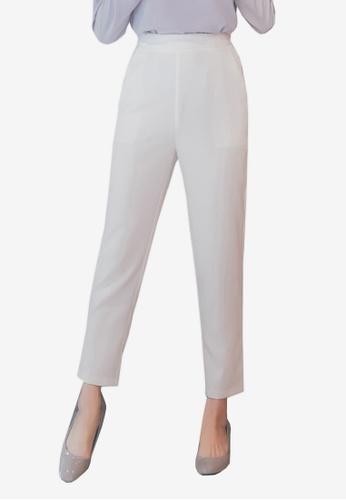 YOCO white High Waist Tapered Pants BAC73AABC20978GS_1