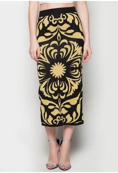 Maxi Knitted Skirt Bell Flower Printed Design