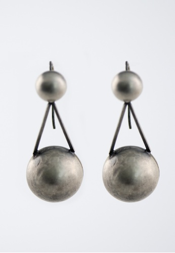 Aadyaa Singapore silver Dual Sphere 3D Earrings 7313DACA86DBFCGS_1