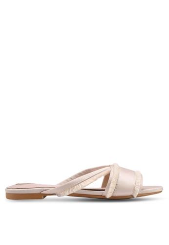 Velvet beige Fringed Sandals 41E07SHAD8C478GS_1