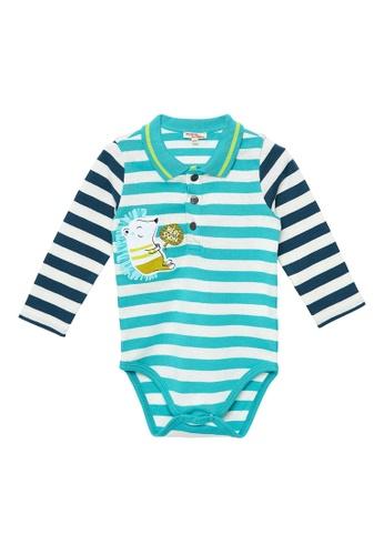 Du Pareil Au Même (DPAM) white and blue Stripe Bodysuit 8FC5CKA763A3A1GS_1