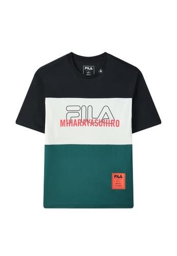 FILA black FILA x Maison MIHARA YASUHIRO Color Blocks Logo Cotton T-shirt C9AFCAAAF2E2F2GS_1