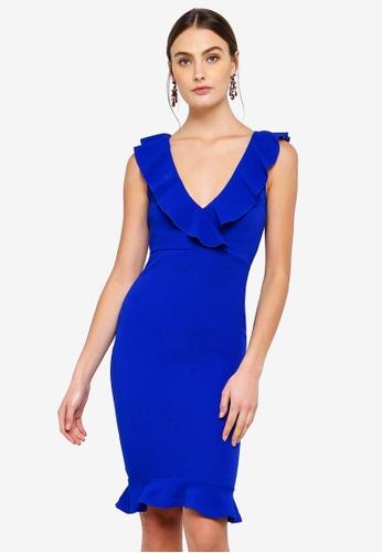 AX Paris blue V-Neck Peplum Midi Dress 4CC14AA1C6E55BGS_1