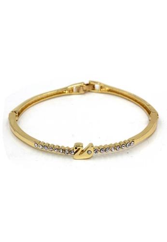 midzone gold TYON Korea Shiny Rhinestones Swan Bracelet MI949AC61JOSMY_1