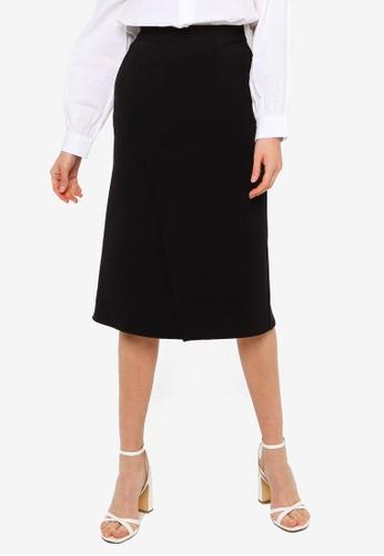 URBAN REVIVO black Wrap Knit Skirt 0D77FAA1956F22GS_1