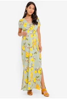 87b6e37c00 Mama.licious yellow and green and multi Maternity Lemon Short Sleeve Jersey  Maxi Dress D54D0AA7EA1551GS 1