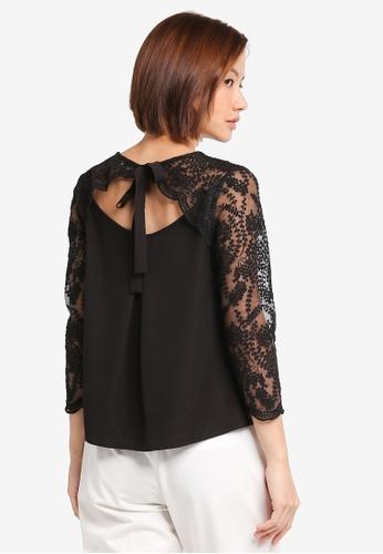 ZALORA black Lace Ribbon Detail Blouse 83460AA6AD1FFEGS_1