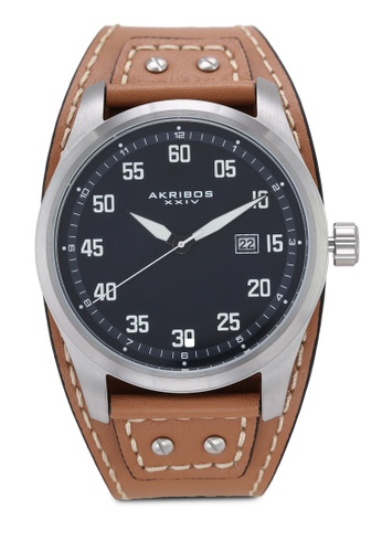 Akribos XXIV brown Date Sport Leather Watch 9F34FACDE76BA3GS_1
