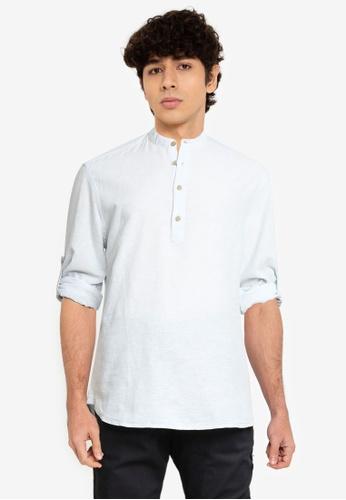 Only & Sons blue Caiden Half Placket Linen Shirt B70CCAA67D57E7GS_1