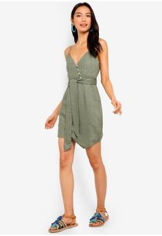 870ee15e36325 39% OFF INDIKAH Button Front Asymmetrical Hem Wrap Dress With Waist Sash S$  100.71 NOW S$ 61.90 Sizes 8 10 12