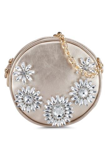 Zalia gold Circular Sling Bag With Gems C3CD1AC8195913GS_1