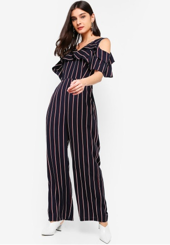 ZALORA blue and multi Double Ruffles Jumpsuit 28DF5AABF347B3GS_1