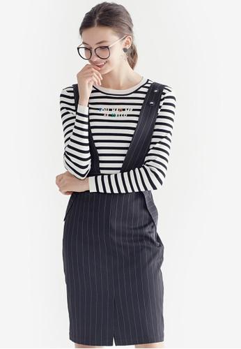 Hopeshow grey Stripe Slim Pinafore Dress 6EE56AAF2A1C34GS_1