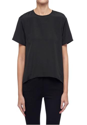ck Calvin Klein 黑色 輕薄背部百摺綴飾上衣 2C8E7AA7249F38GS_1
