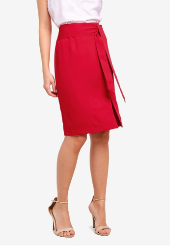 ZALORA red Soft Tailored Self Tie Skirt 57C17AA73A6DB9GS_1