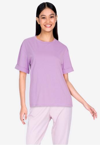 ZALORA BASICS 紫色 Casual T-Shirt DD551AA68DB77CGS_1