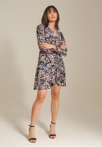 Dressing Paula black Ruffled Floral Chiffon Wrap Dress E7692AA3D6FA90GS_1