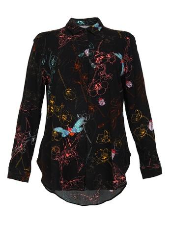 POPLOOK black Valletta Front Button Shirt 0308AAA89F712CGS_1