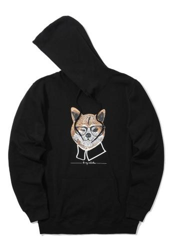 BLOCKAIT black Akita Ken graphic hoodie 6A0B1AAEB28433GS_1