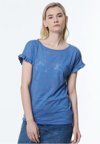 Sisley blue Printed T-shirt CB2FFAAF917D2CGS_1