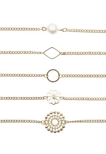 LUCCACAL gold 5 x Sunburst Beaded Bracelet Set LU294AC0SLXEMY_1