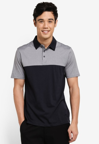 Burton Menswear London grey Grey Feeder Stripe Cut And Sew Polo Shirt BU964AA92VAPMY_1