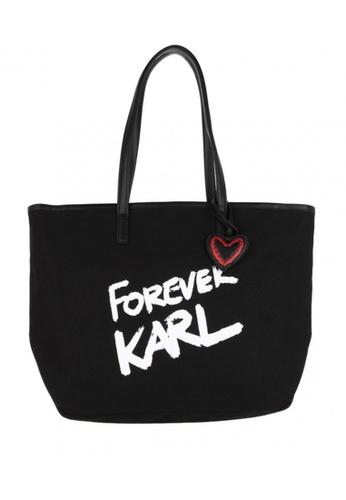 KARL LAGERFELD black Karl Forever Canvas Shopper ADB28ACAC7AE1FGS_1