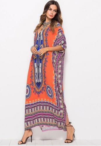 Kings Collection orange African Ethnic Print Beach Long Dress (KCCLSP2103) 6E8F6AA1622F83GS_1