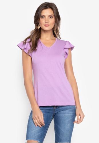 moondaze purple Nancy Ruffle Sleeves Top 9AA5AAA069A3EAGS_1
