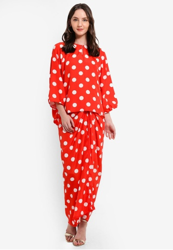 Polka Dot Kurung With Instant Pareo from Jari Alana RTW in Red