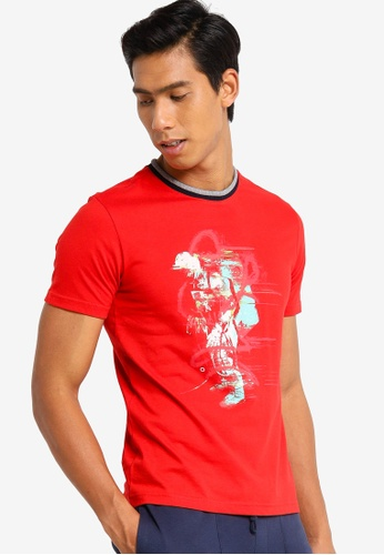 UniqTee red Gramophone Printed Tee with Contrast Collar 94658AA7A913E1GS_1