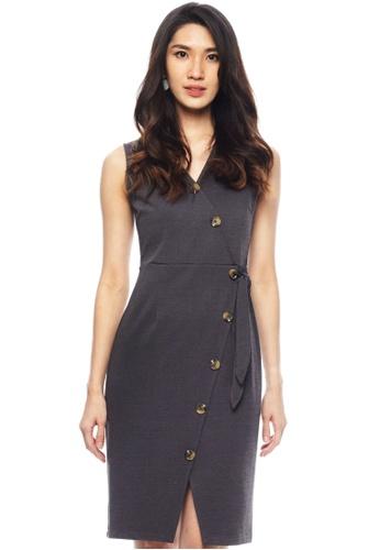 Nichii grey Buttoned Wrap Sheath Dress E9058AAF1997E8GS_1