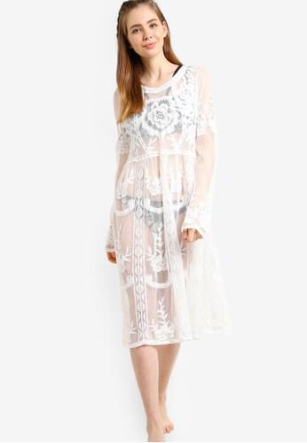 PINK N' PROPER white Adara Embroidered Beach Dress PI108US80ZXBMY_1