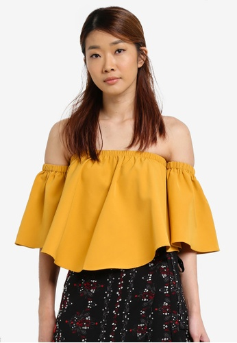 Something Borrowed yellow Curved Hem Off Shoulder Top B3AD8AAEA2F3A1GS_1