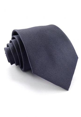 Tieline grey Standard Microfiber Solid Textured Necktie TI886AC90UOJPH_1