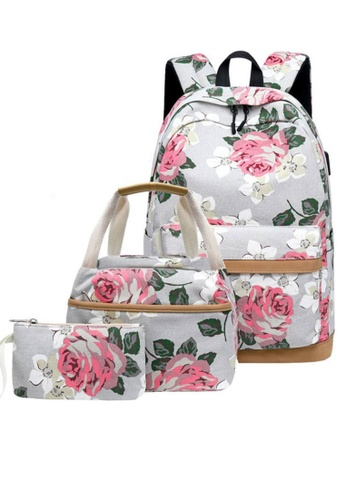 Twenty Eight Shoes grey VANSA Floral Printed Canvas Backpacks VBW-Bp10031 DDCDEAC262D019GS_1