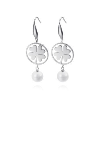 Glamorousky white Fashion and Elegant Round Four-leafed Clover 316L Stainless Steel Earrings with Imitation Pearls 58873ACDA06222GS_1