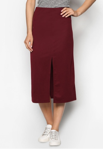 ZALORA red Basics Midi Skirt with Front Slit AQLSKAA0000069GS_1