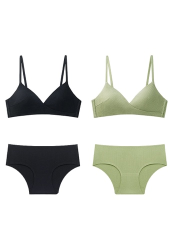 K.Excellence green Premium Comforn Black&green Lingerie Set (Bra and Underwear) 81F02USB15FE6CGS_1