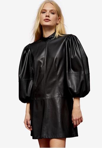 TOPSHOP black IDOL Black PU Drama Sleeve Dress 0707AAA5402398GS_1