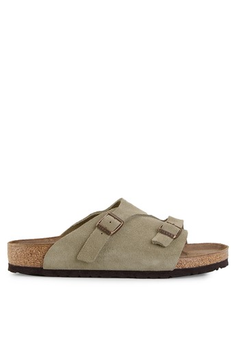 Birkenstock grey Zürich Suede Leather Sandals BI090SH0UCZUID_1
