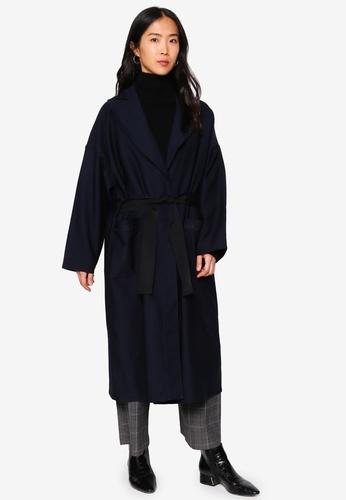 niko and ... blue Woven Long Coat 5E665AA2F24D37GS_1